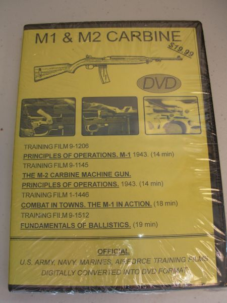 M1 & M2 CARBINE NATIONAL ARCHIVE COMPILED TRAINGING FILMS DVD