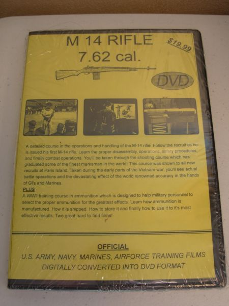 M14 RIFLE 7.62 cal NATIONAL ARCHIVE COMPILED TRAINGING FILM DVD