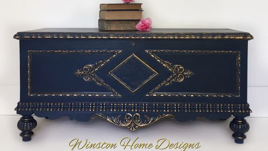 Vintage Jacobean Cedar Chest in Dark Blue & Metallic Gold Custom Finish; circa 1920's