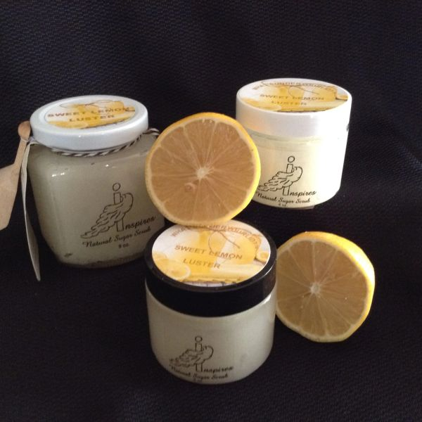 Sweet Lemon Luster/Face & Body Sugar Scrub/ Glass Jar 9oz.