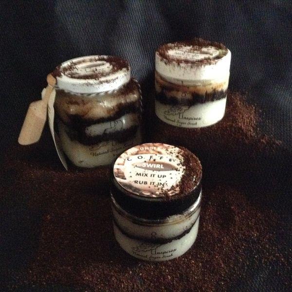 Coffee Swirl/Face & Body Sugar Scrub/Mix-it-up/Glass Jar 9oz.