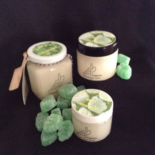 Sassy Spearmint/Face & Body Sugar Scrub/Glass Jar 9oz.