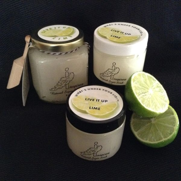 Live It Up Lime/Face & Body Sugar Scrub/Glass Jar 9oz.