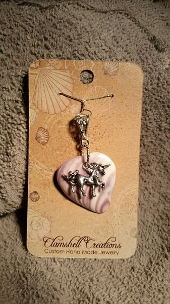 Clamshell Pendant with Unicorn