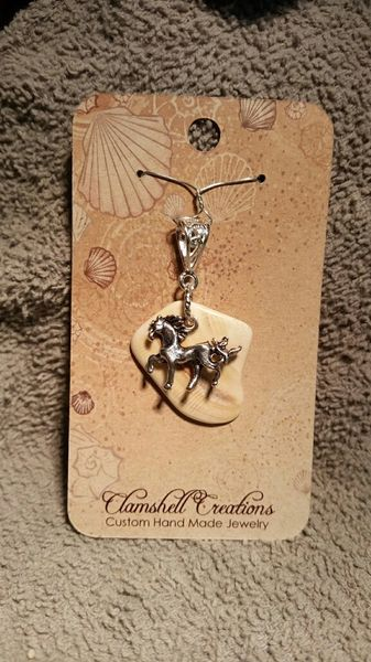 Clamshell Pendant with Horse charm