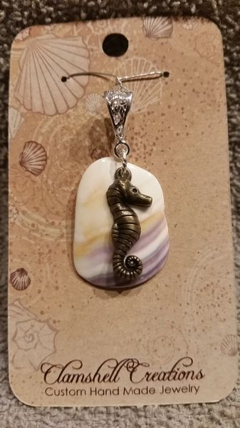 Clamshell Pendant with seahorse