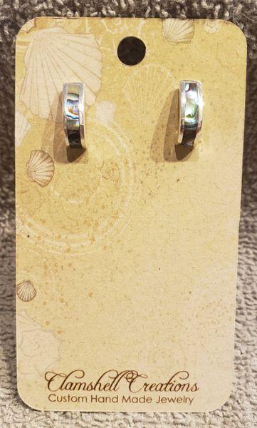 Abalone half hoop earrings