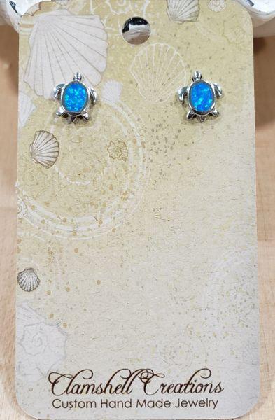 Blue Opal Turtle stud Earrings