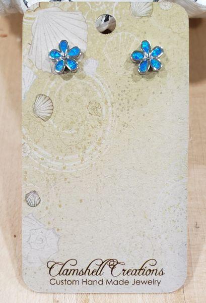 Blue Opal Flower post Earrings