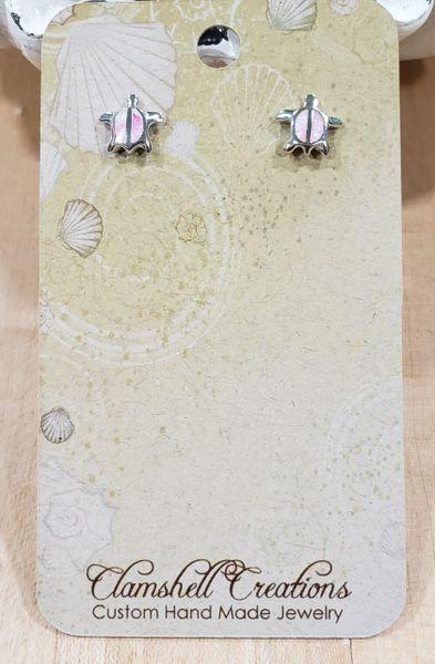 Pink Opal Turtle stud Earrings