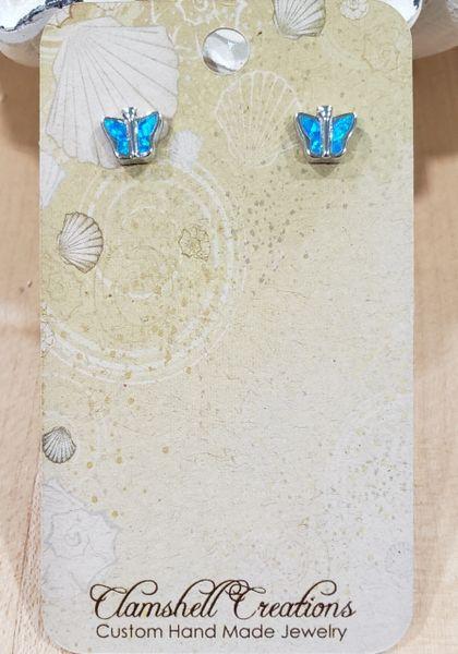 Blue Opal Butterfly stud Earrings