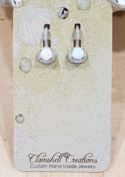 White Opal and CZ Earrings