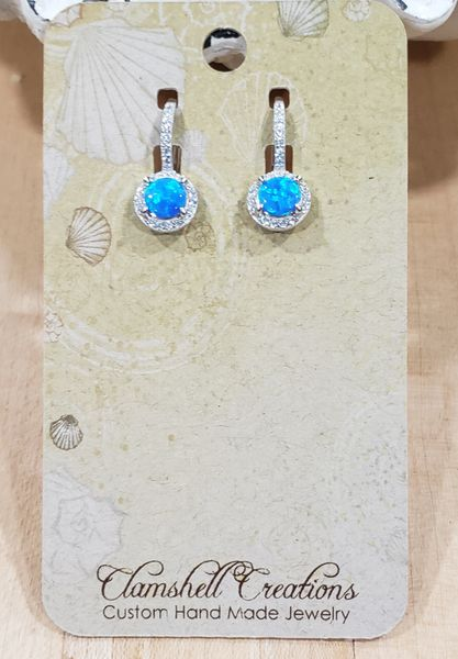 Blue Opal and CZ Earrings