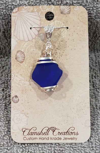 Cobalt Blue Seaglass Pendant