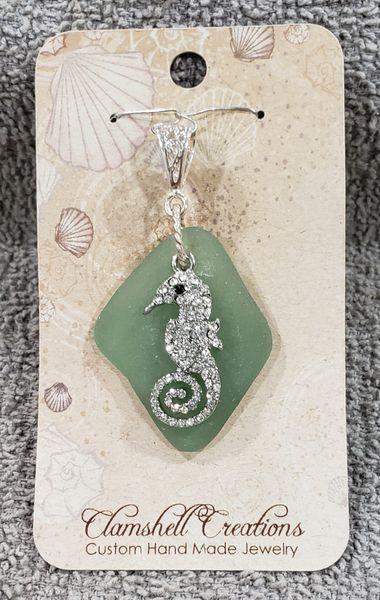 Green Seaglass Pendant with Seahorse