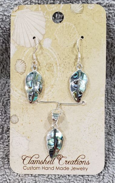 Abalone Leaf Pendant/Earring set