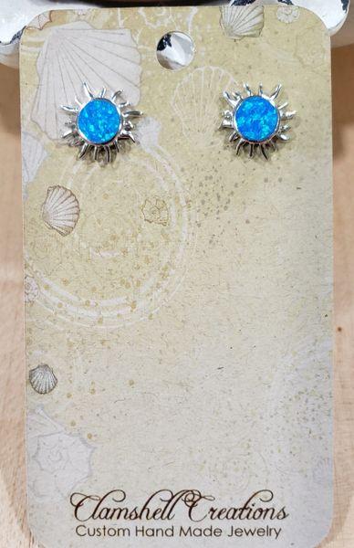 Large Blue Fire Opal Sun Studs
