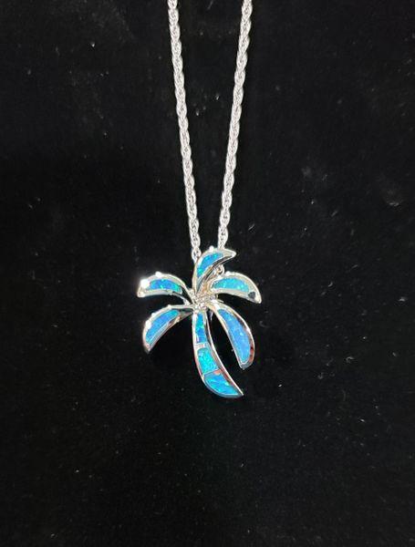Blue Opal Palm Tree Pendant