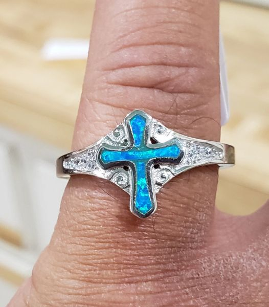 Blue Fire Opal Cross Ring