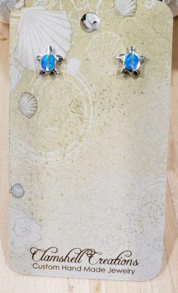 Blue Opal Turtle Studs