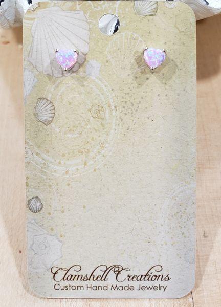 Pink Fire Opal Heart Studs