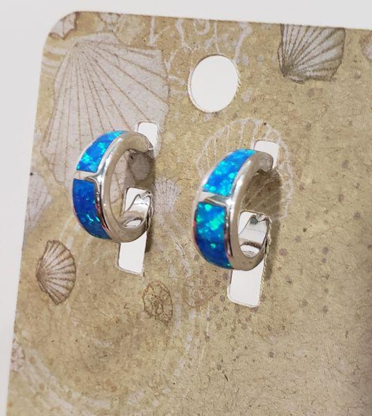 Small Blue Fire Opal Hoops