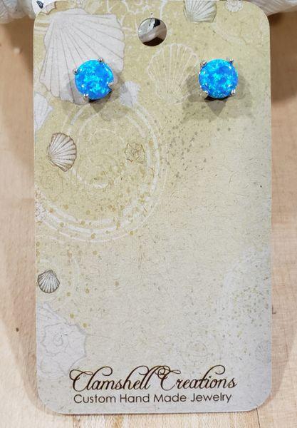 Large Blue Fire Opal Studs