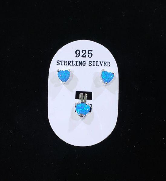 Blue Fire Opal Heart Pendant/Earring set