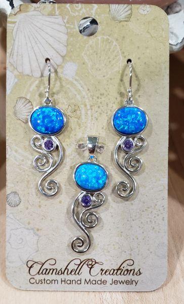 Blue Opal/Amethyst Pendant/Earring set