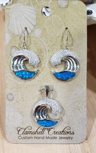 Blue Opal Wave Pendant/Earring set