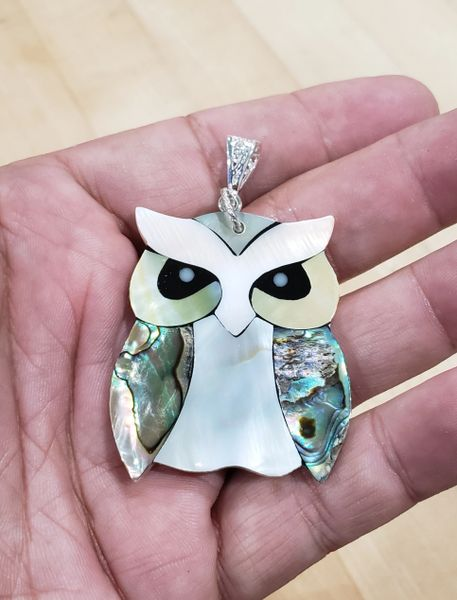 Abalone Owl Pendant