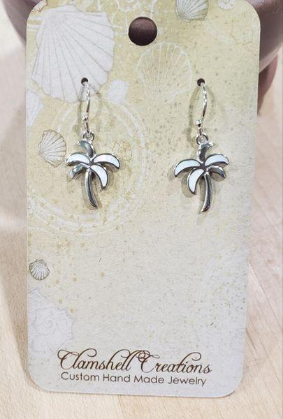 White Opal Palm Tree Earrings