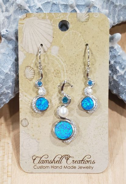 Blue Opal Pendant/Earring Set