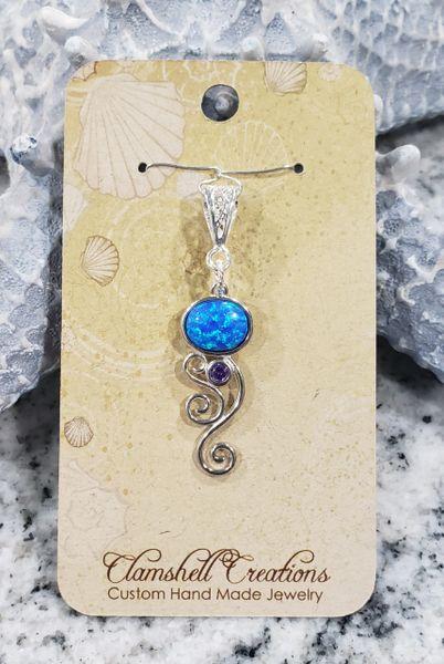 Blue Opal/Amethyst Pendant
