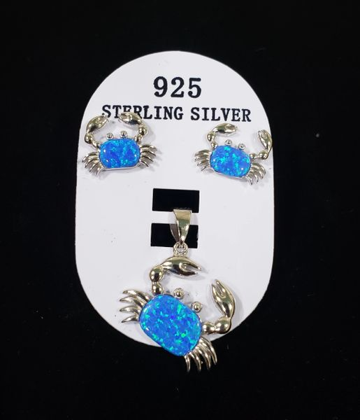 Blue Opal Crab Pendant/Earring Set