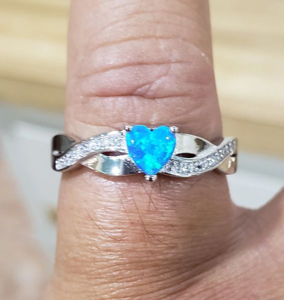 Blue Fire Opal Heart Ring