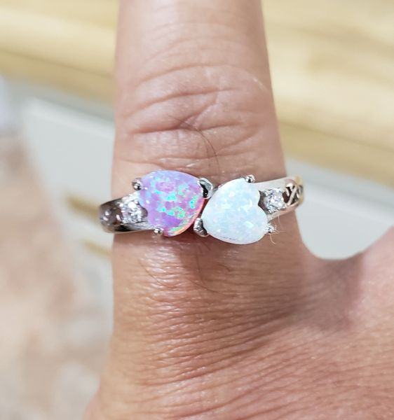 Pink/White Opal Heart Ring