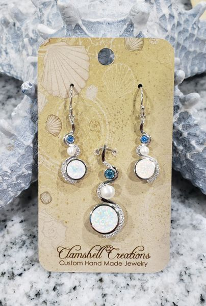 White Opal Pendant/Earring Set
