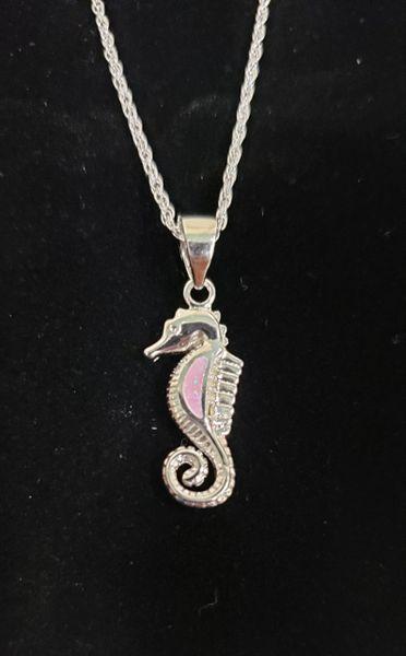 Pink Opal Seahorse Pendant