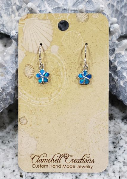 Blue Opal Floral Earrings