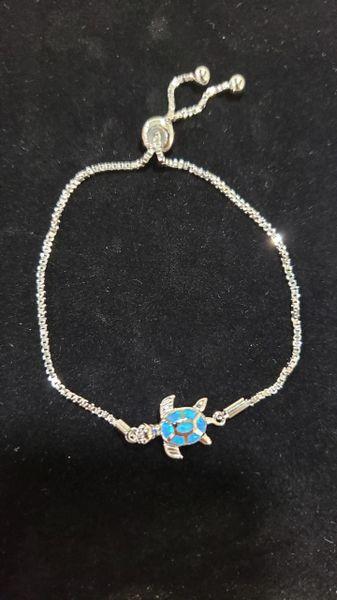 Blue Opal Turtle Bola Bracelet