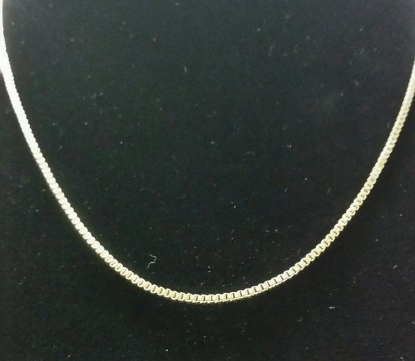 Sterling silver plated box chain 1.3mm 20''