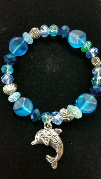 Blue beaded bracelet with Dolphin