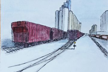 Looking Down the Tracks in Winter, Pen & Ink, Watercolor