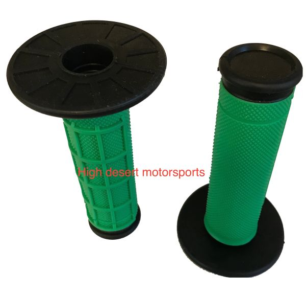 Green mx style grips for motorcycles and atv's with twist throttles