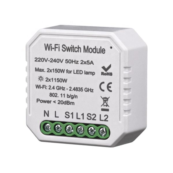 Retro-Fit 2 gangs 2 ways switch module wifi bluetooth RF controlled switch 220V-240V 10A app control