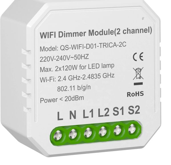 Retro-Fit WIFI dimmer 2 channel module smart light dimmer module APP mobile phone control 2x100W