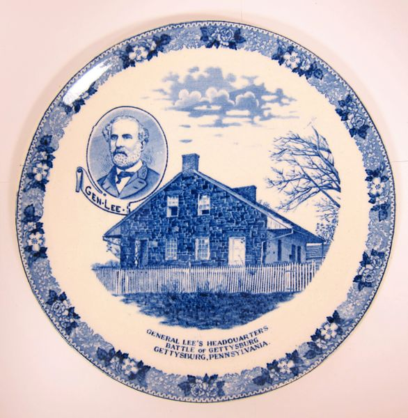Gettysburg Souvenir Plate Depicting General Lee and Headquarters