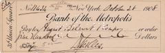 General Daniel E. Sickles Personal Hand Autographed Check