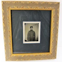1/6th Plate Tintype of Union Private - Framed